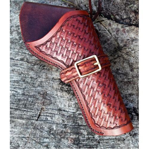 Handmade Cross Draw Holster Basket Weave Design Medium Brown RH: