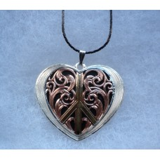 Montana Silversmith Gold Silver Rose Gold Black Heart Peace Pendant Necklace.