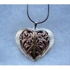 Montana Silversmith Gold Silver Rose Gold Black Heart Peace Pendant Necklace.