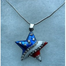 Rhinestone Stars and Stripes Star Pendant Chain Necklace Set.