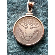 Barber Quarter 1896 In Sterling Silver Pendant
