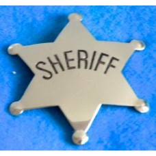 Sheriff Silver Badge with Sheriff in Black Lettering