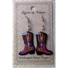 Spirit Of Nature Cowboy Boots Earrings Pink Diamond