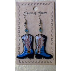 Spirit Of Nature Cowboy Boots Earrings Blue Circle