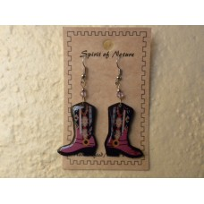 Spirit Of Nature Cowboy Boots Earrings Pink Circle