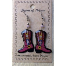 Spirit Of Nature Cowboy Boots Earrings Light Pink Circle