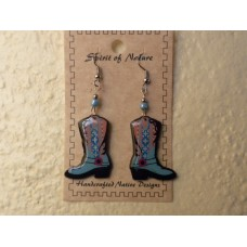 Spirit Of Nature Cowboy Boots Earrings Light Blue Circle