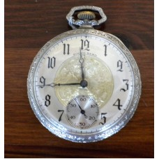 South Bend 17 Jewel, 411 Adjusted, Silver Plated Case. Size 12 Pocket Watch.