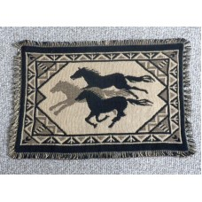 "Jaquard Cotton Placemat with Wild Horses Hand woven design.13"" x 19""(33 x 48cm)"