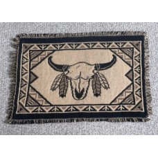 "Jaquard Cotton Placemat with South Western Steers Head Hand woven design.13"" x 19""(33 x 48cm)"
