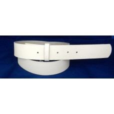 "Plain Leather Belt With No Design. White 42""(108cm)."