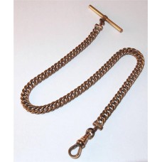 Victorian Rose Gold Filled Wide Curb Link Pocket Watch Chain w/T Bar Signed S&C.