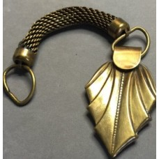 Vintage Art Deco Brass Watch Fob And Mesh Chain