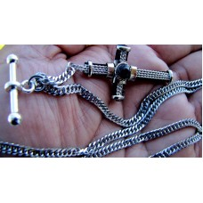 20 Inches Long Custom Made Solid Pocket Watch Chain Cross Fob