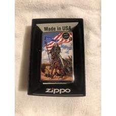 Zippo Lighter Cowboy with Stars & Stripes Flag